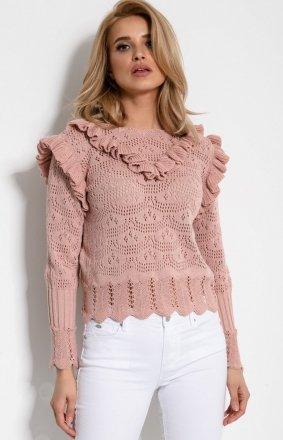 Sweterek z falbankami F908 pudrowy róż