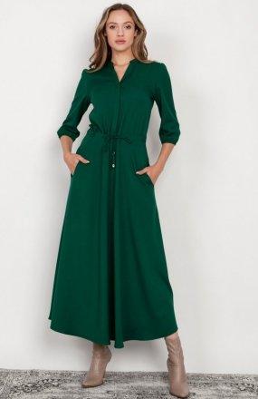 Długa sukienka z rękawem 3/4 i troczkiem zielona SUK205