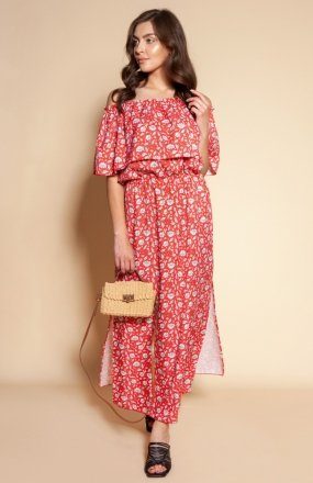 Długa sukienka hiszpanka z rozcięciem czerwona SUK200