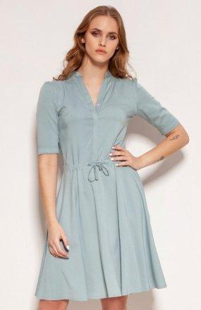 Sukienka z troczkiem i rozkloszowanym dołem miętowa SUK195