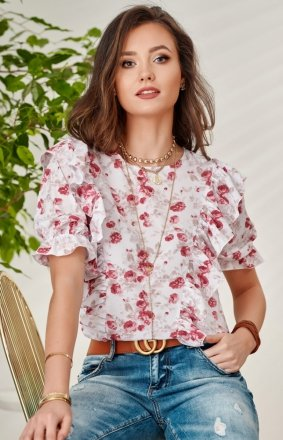 Stylowa bluzka w kwiaty 0074/S50