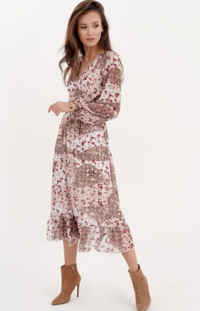 Sukienka midi z falbaną w kwiatuszki 0241/D96