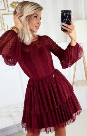 Bordowa sukienka z bufiastymi rękawami 2191-10