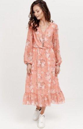 *Sukienka midi z falbaną w kwiaty 0241/R12