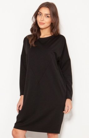 Oversizowa sukienka w typie bluzy czarna SUK191
