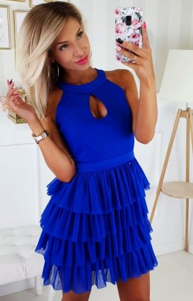 *Chabrowa sukienka z falbankami 2188-05