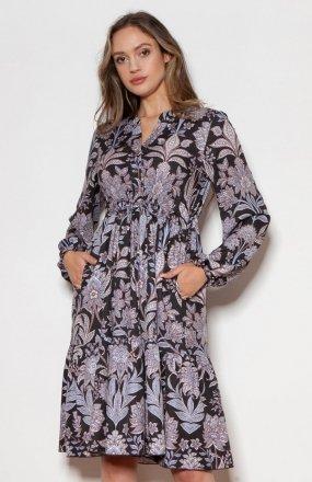 Rozkloszowana sukienka z troczkami w pasie wzór kwiaty SUK203