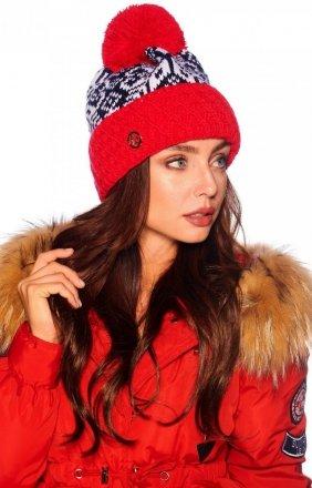 Ciepła czerwona czapka z pomponem LC108