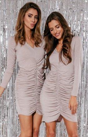 Wieczorowa mini sukienka z brokatem bez F867