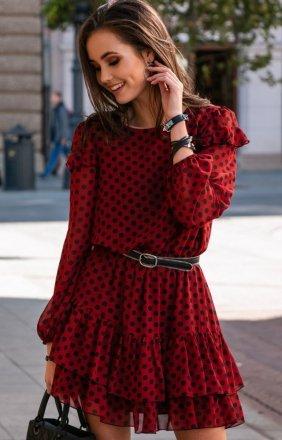 *Szyfonowa sukienka w czerwone groszki 259/D88