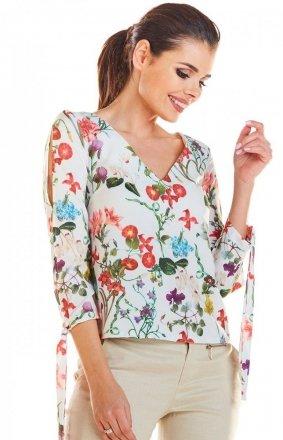 Kwiatowa bluzka damska ecru M191
