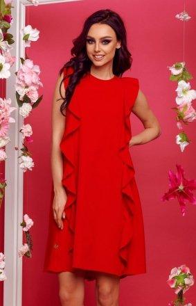 Oversizowa sukienka z falbanami czerwona L298