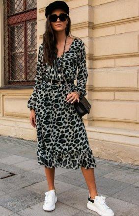 Sukienka midi w panterkę z falbaną 0241/63