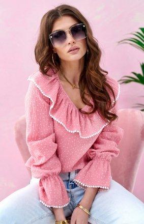 Romantyczna bluzka z falbankami różowa 0111