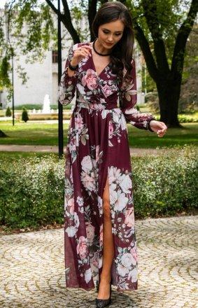 Stylowa sukienka maxi w kwiaty 0219/D38