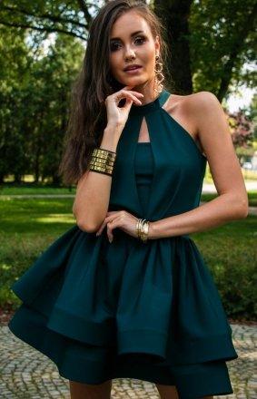 Rozkloszowana sukienka z falbanami zielona 0202