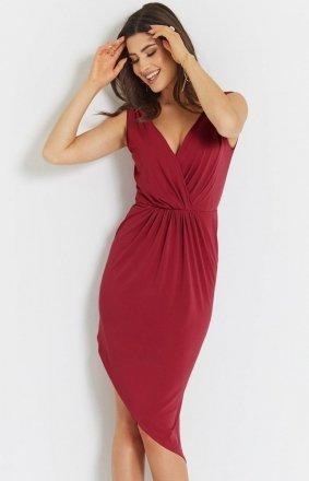 Seksowna asymetryczna sukienka czerwona Gaja