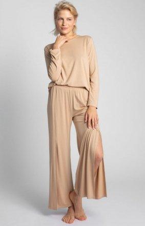 Szerokie spodnie z rocięciami cappucino LA026