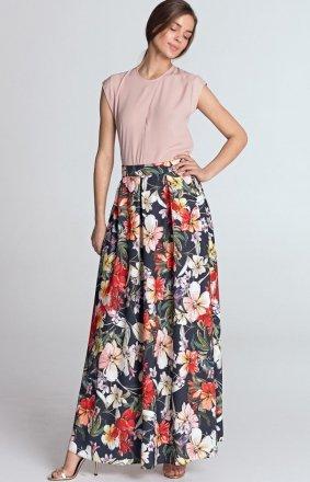 Długa spódnica z zakładkami w kwiaty SP43K/G