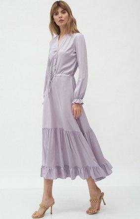 Długa sukienka lila z falbaną s178