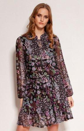 Wzorzysta sukienka z falbanami wzór SUK194
