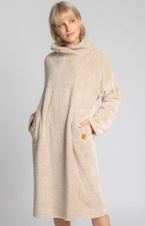 Lalupa ciepła pluszowa sukienka domowa cappucino