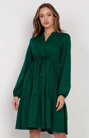 Rozkloszowana sukienka z troczkami w pasie zielona SUK203