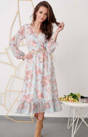 Sukienka midi z falbaną w kwiaty 0241/R36