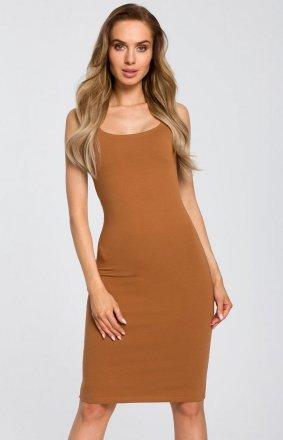 Sukienka ołówkowa karmelowa M414