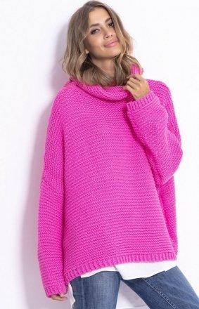 *Oversizowy sweter z golfem Fobya F811 róż