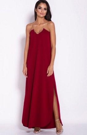 Długa sukienka Inez bordowa