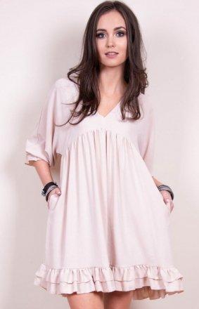 Luźna sukienka z falbanami beżowa 0238