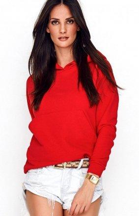 Sportowa bluza z kapturem czerwona NU209