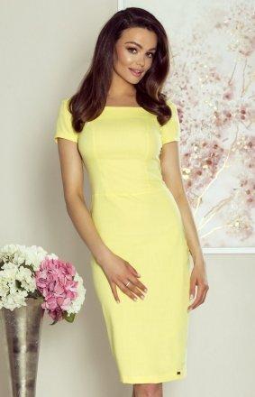 Ołówkowa sukienka z wycięciami na plecach żółta