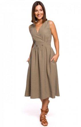 Letnia sukienka midi khaki S224