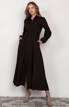 Sukienka maxi na guziki, z kołnierzykiem czarna SUK204