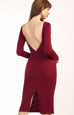 Elegancka bordowa ołówkowa sukienka