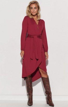 *Kimonowa sukienka z paskiem burgundowa M577