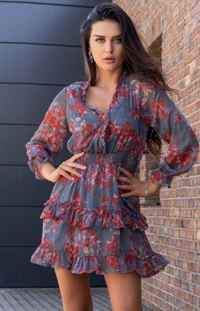 Mini sukienka z falbankami Visteriam D163