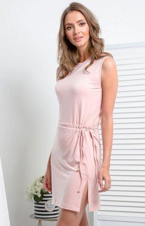 Prosta dzianinowa sukienka pudrowy róż I337