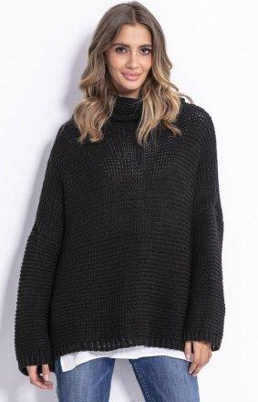 Oversizowy sweter z golfem Fobya F811 czarny
