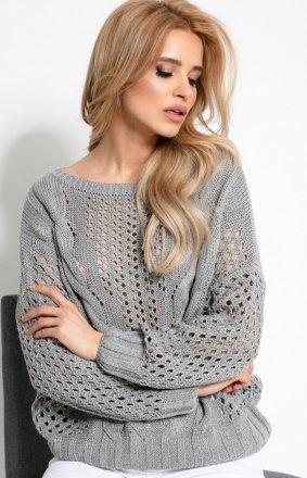 Ażurowy sweterek szary F893