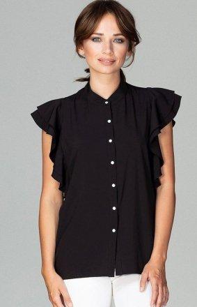 Efektowna bluzka z falbankami czarna K482