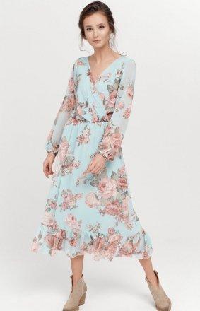 Sukienka midi z falbaną w kwiaty 0241/R06