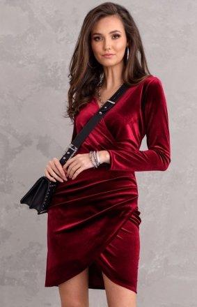 Elegancka kopertowa sukienka bordowa 0308