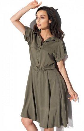Koszulowa sukienka khaki L331