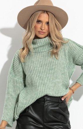 Sweter z golfem zielony Fobya F1270