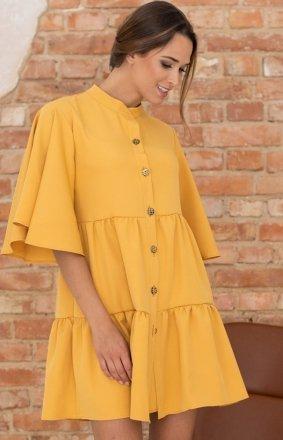 Modna sukienka babydoll musztardowa LP279