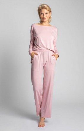 Spodnie do spania z szerokimi nogawkami róż LA028