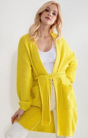 Żółty kardigan damski z wiązaniem F1211